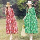 Ethnic Round-neck Print Dress