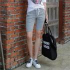 Drawstring-waist Button-front Shorts