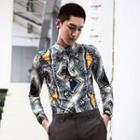 Patterned Slim-fit Long-sleeve Shirt