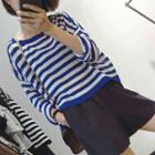Striped 3/4 Sleeve Knit Top