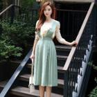 Pleated Plain Jumper Dress