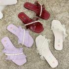 Faux Pearl Ruffle Slide Sandals