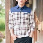 Denim Panel Plaid 3/4-sleeve Shirt
