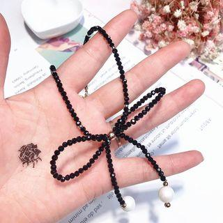 Ribbon Necklace Black - One Size