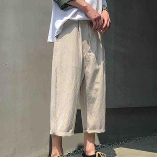 Cropped Linen Straight Fit Pants