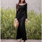 Long-sleeve Open Back Maxi Dress