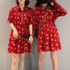 Patterned A-line Mini Dress