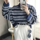 Mock Neck Striped Sweater As Shown In Figure - One Size