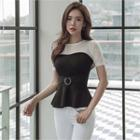 Color-block Knit Top With Belt