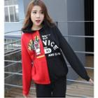 Printed Color Block Hoodie As Shown In Figure - One Size