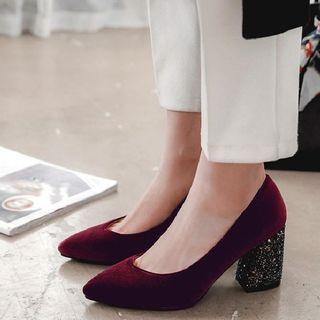 Sequin Heel Velvet Pumps