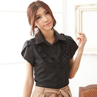 Ruffled Short-sleeve Shirt