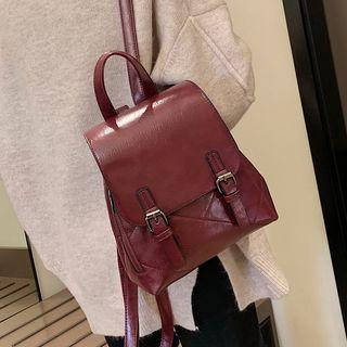 Faux Leather Double-buckle Backpack