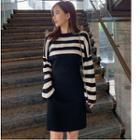 Set: Striped Long-sleeve Top + Tank Dress Stripe - One Size
