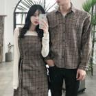 Couple Matching Plaid Pinafore Dress / Plaid Shirt
