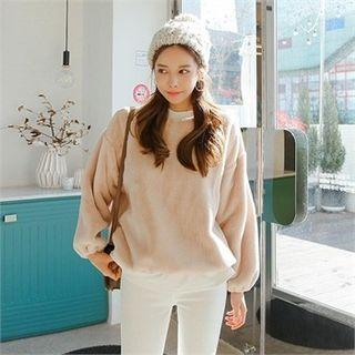 Balloon-sleeve Boxy-fit Faux-fur Pullover