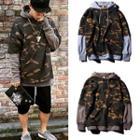 Hooded Mock Two-piece Camouflage Sweatshirt