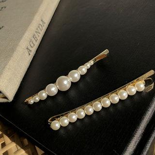 Faux-pearl Hair Pin Ivory - One Size
