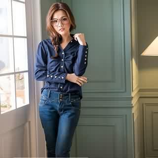 Long-sleeve Ruched Blouse