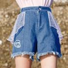 Mesh Panel Fray Hem Denim Shorts