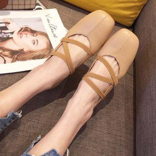 Faux Leather Cross Strap Ballet Flats