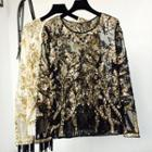Sequined Long-sleeve Top