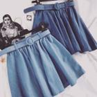 Plain Ruffle Denim Skirt