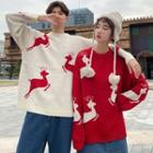 Couple Matching Reindeer Print Sweater