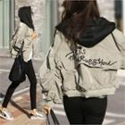 Hooded Letter Embroidered Jacket