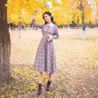 Long-sleeve Midi Plaid A-line Dress