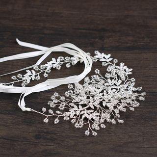 Bridal Rhinestone Flower Hair Piece White - One Size