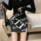 Lettering Mini A-line Skirt