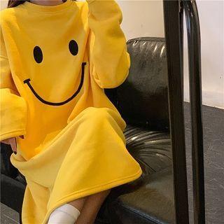 Smiley Face Print Midi Sleep Dress / Slippers