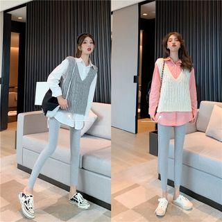 Knit Vest / Plain Shirt / Leggings