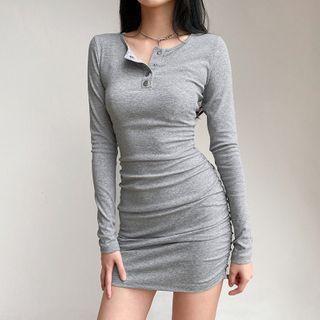 Long-sleeve Mini Bodycon Henley Dress