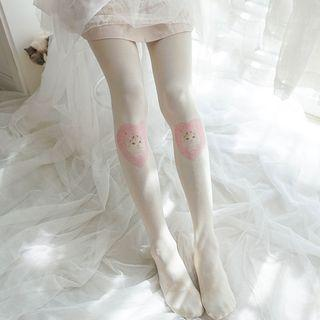 Cat Print Tights Milky White - One Size