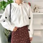 Frilled Trim Heart Embroidered Blouse White - One Size