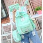 Set: Printed Backpack + Shoulder Bag + Zip Pouch + Drawstring Pouch