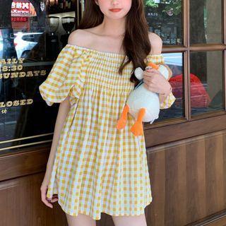 Puff-sleeve Shirred Checked A-line Mini Dress