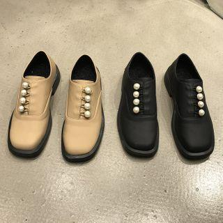 Faux Pearl Accent Oxfords