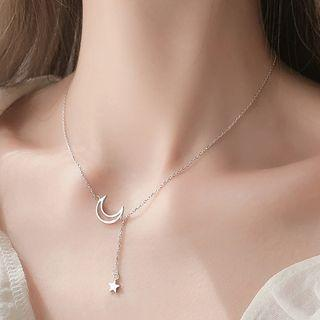 925 Sterling Silver Moon & Star Pendant Choker 925 Silver - As Shown In Figure - One Size