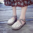 Striped Cross Strap Sandals