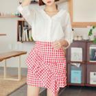 Shirred Gingham Skirt