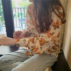 Long-sleeve Floral Blouse Tangerine Floral - Light Beige - One Size