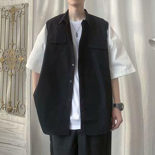 Sleeveless Plain Jacket
