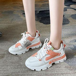 Color Block Mesh Panel Lace-up Athletic Sneakers