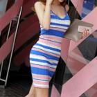 Striped Knit Sheath Tank Dress