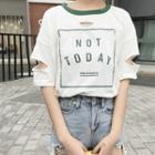 Cutout Print Ringer T-shirt