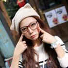Ear-accent Knit Beanie Beige - One Size