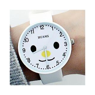 Smiley Print Silicone Strap Watch Pink - One Size